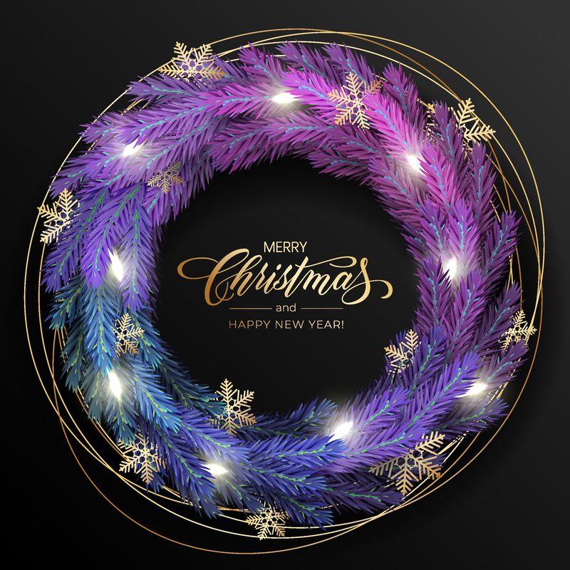 节日&X27;的背景是圣诞贺卡-带有逼真的彩色松枝花环-装饰有圣诞灯、金色星星、雪花