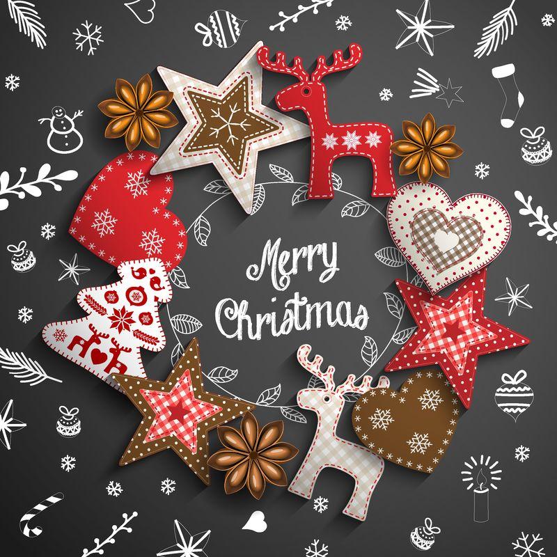 圣诞主题-白色粉笔涂鸦和花环-黑色背景上的乡村装饰品-矢量插图-EPS 10透明渐变网格