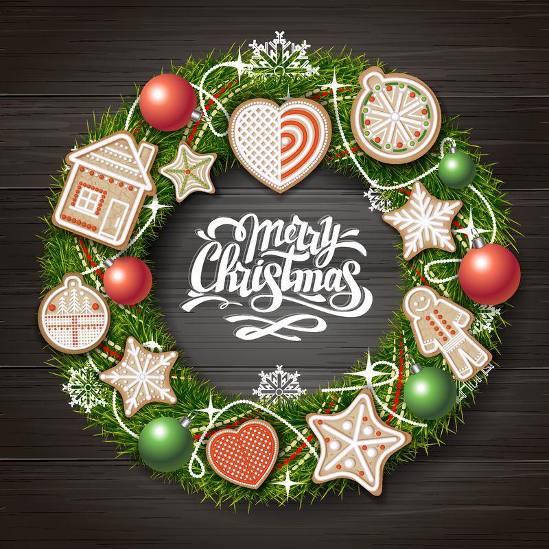 圣诞快乐概念设计俯视图-木制背景的圣诞花圈-圣诞食品