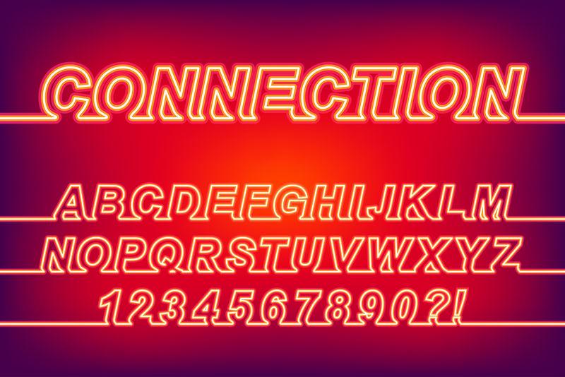 119889霓虹灯连接单线字体