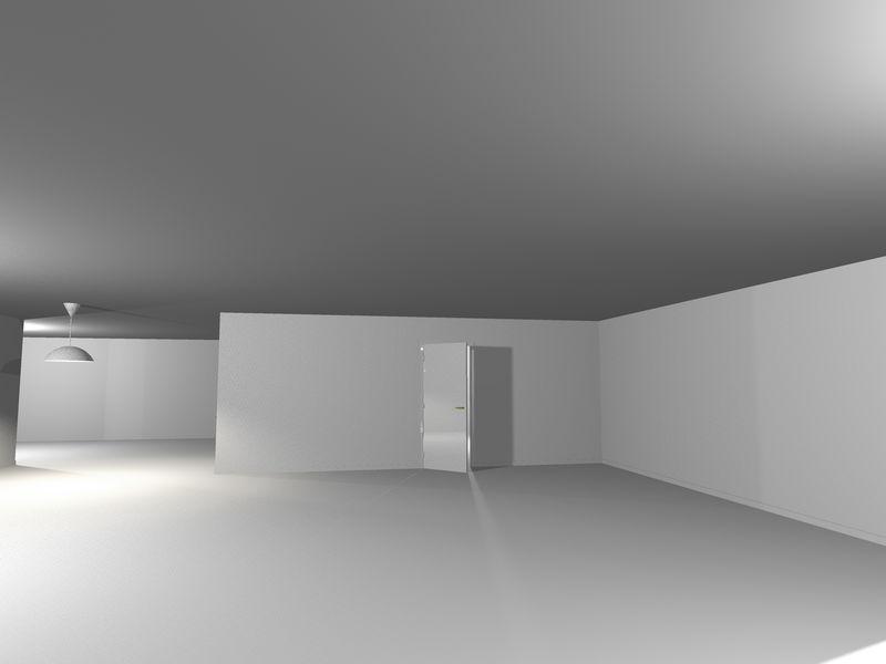空白色现代房间3D渲染