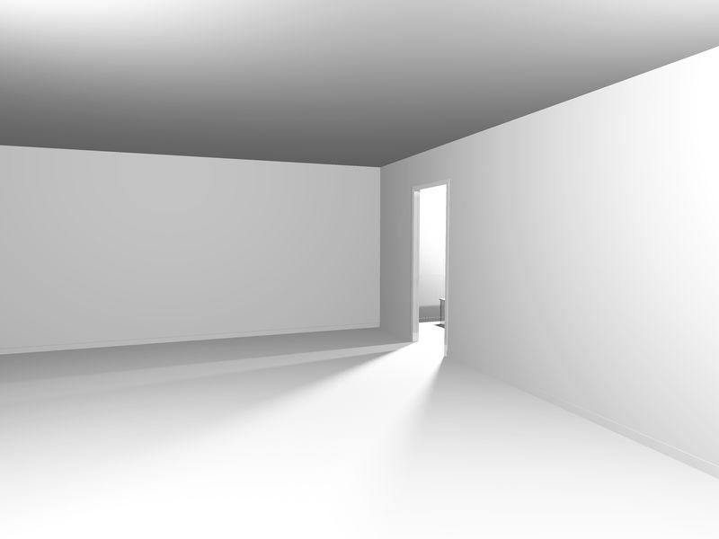 现代白楼建筑背景-三维渲染插图