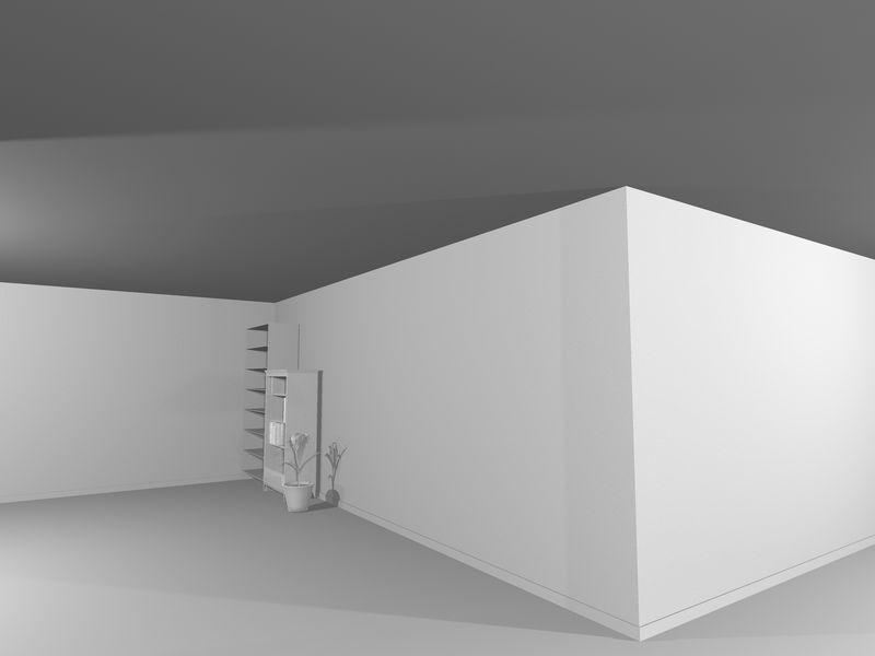 带有大窗户的极简主义住宅的抽象白色建筑内部-图纸-三维插图和渲染