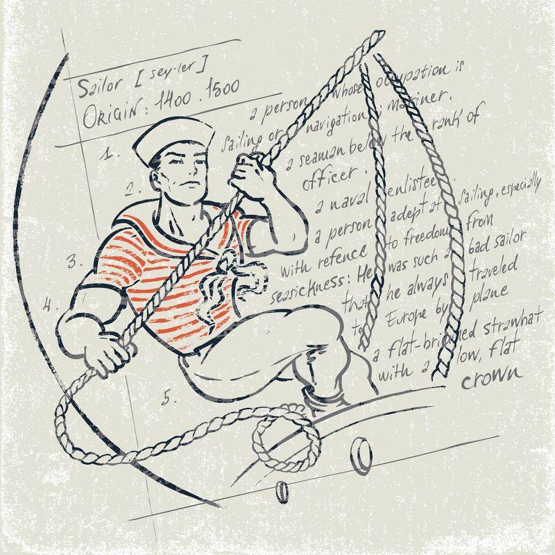 穿有绳索的制服的水手