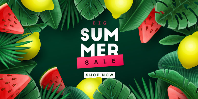 夏季销售背景:热带水果和棕榈叶-矢量图解