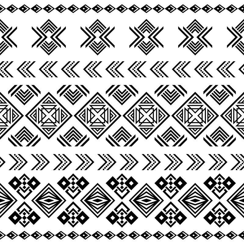 伊卡特族部落模式-部落插图设计矢量