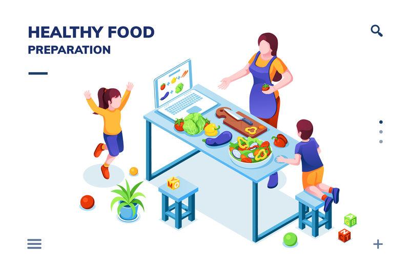家庭烹饪健康或素食的厨房等距视图-准备素食的妇女和儿童-家庭食谱或在线食谱的智能手机应用页面-有机营养