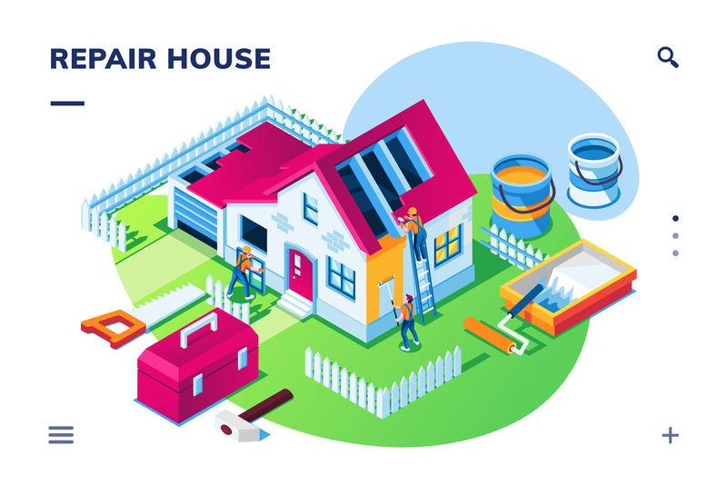 等角外部视图在家修理或房屋翻新-建筑修复-维修-带屋顶工和油漆工、修理工、工具箱、锯子、锤子、滚筒、工人的智能手机应用页面
