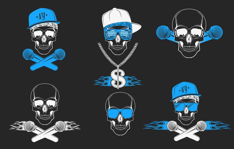 一组用于音乐标识的矢量头盖骨。T恤、音乐P的标志