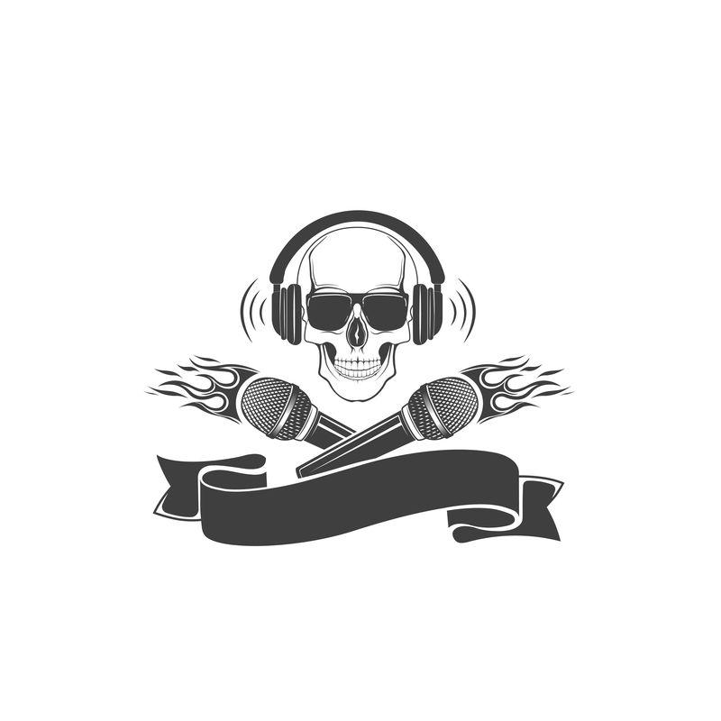 头骨和麦克风,矢量标志。T-SH打印模板