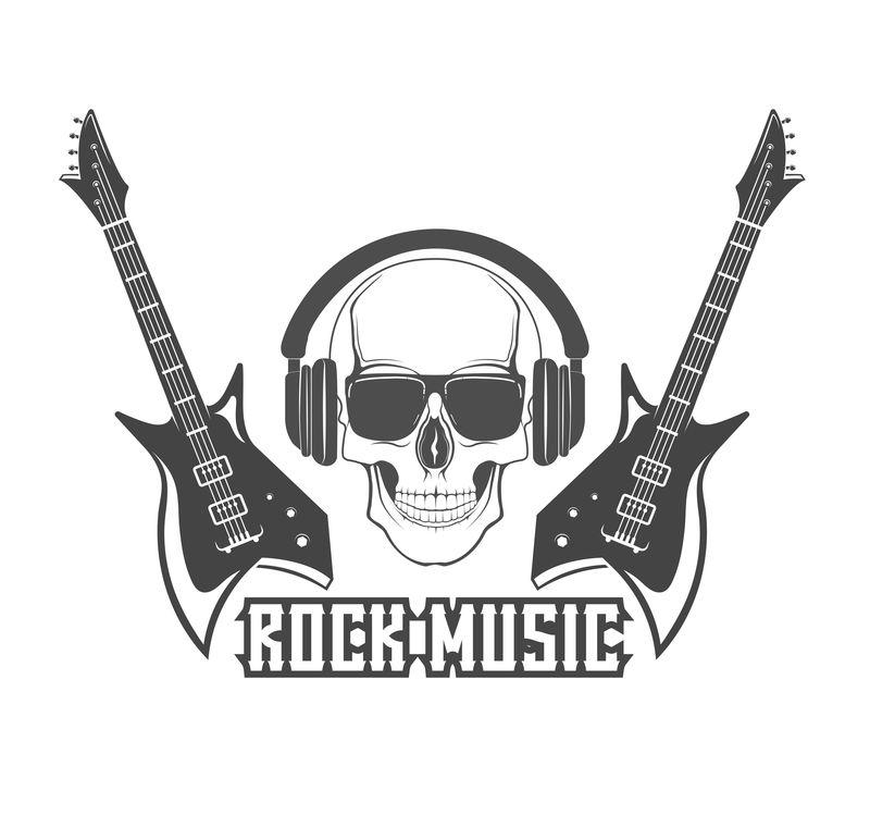 矢量标识概念。海报、横幅的摇滚吉他模板