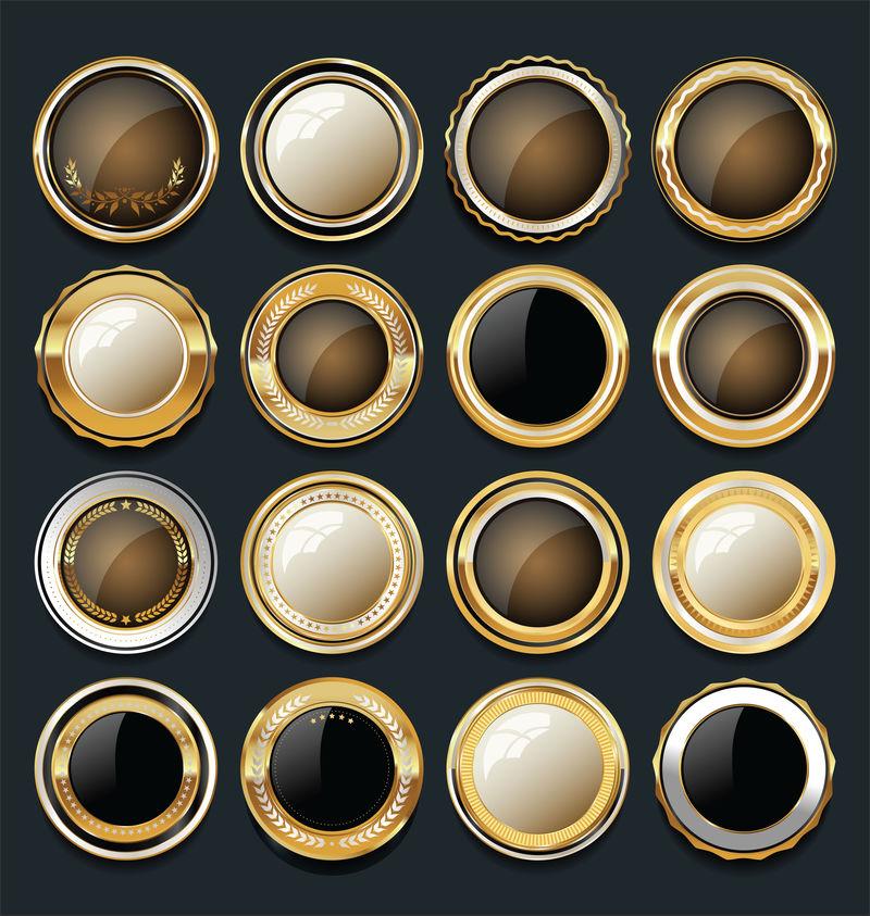 大量的黑色和金色徽章、纽扣或标签