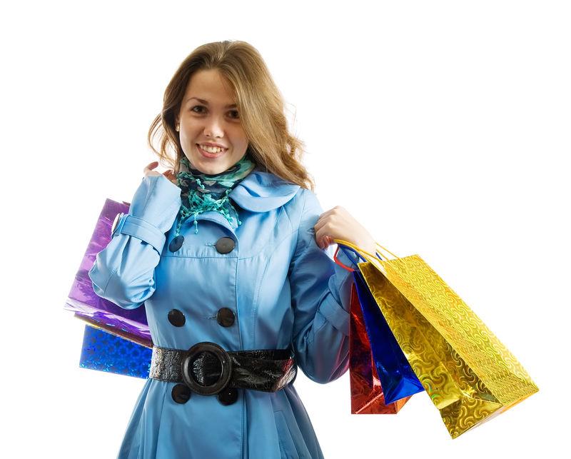 带购物袋的黑发女孩-白底隔离