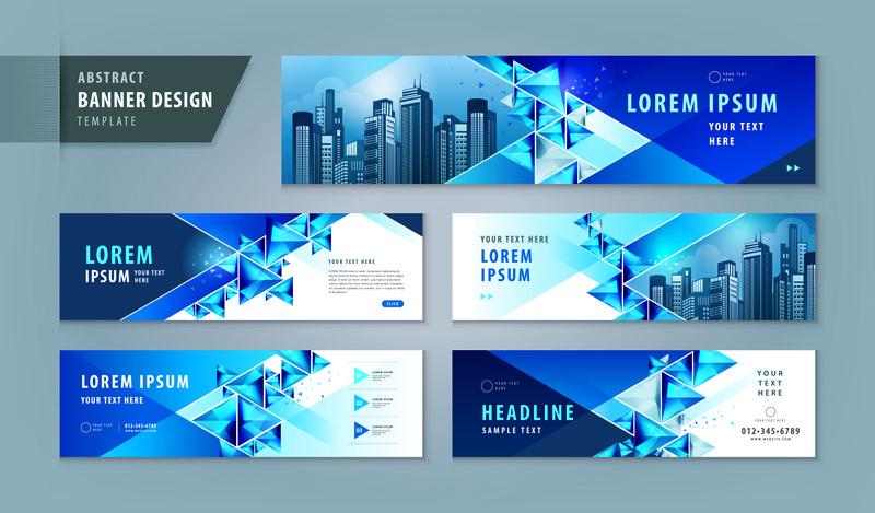 抽象横幅设计Web模板集,水平标题Web B