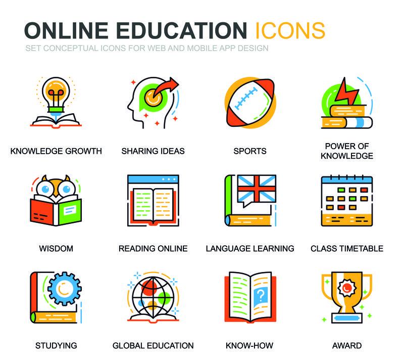 为网站和移动应用程序设置简单的教育和知识线图标-包含在线课程、大学、学习、书籍等图标-概念颜色线图标-矢量象形图包