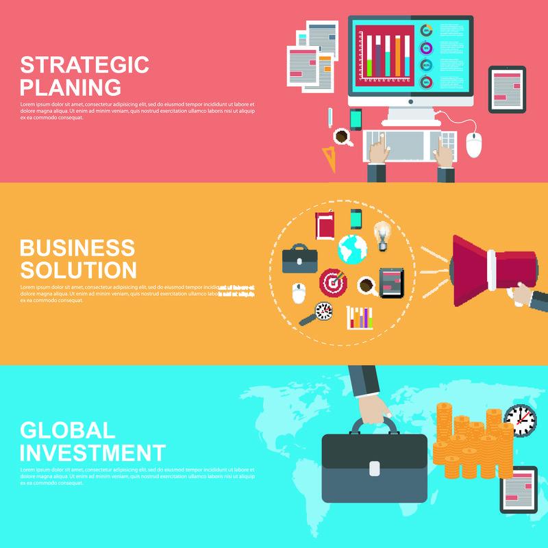 战略规划、全球投资和商业解决方案的平面设计概念