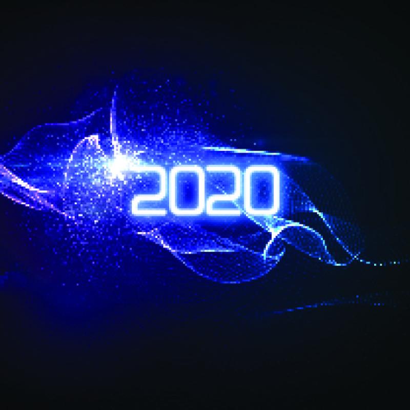 2020年新年快乐-未来主义发光霓虹灯与爆裂的光线飞溅-矢量假日插图-庆祝2020年新年党标-设计装饰元素