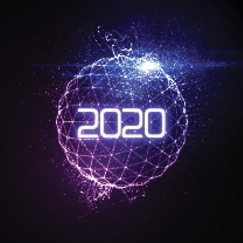 2020年新年快乐-未来的发光霓虹灯与爆裂的光线球体-矢量假日插图-庆祝2020年新年党标-设计装饰元素