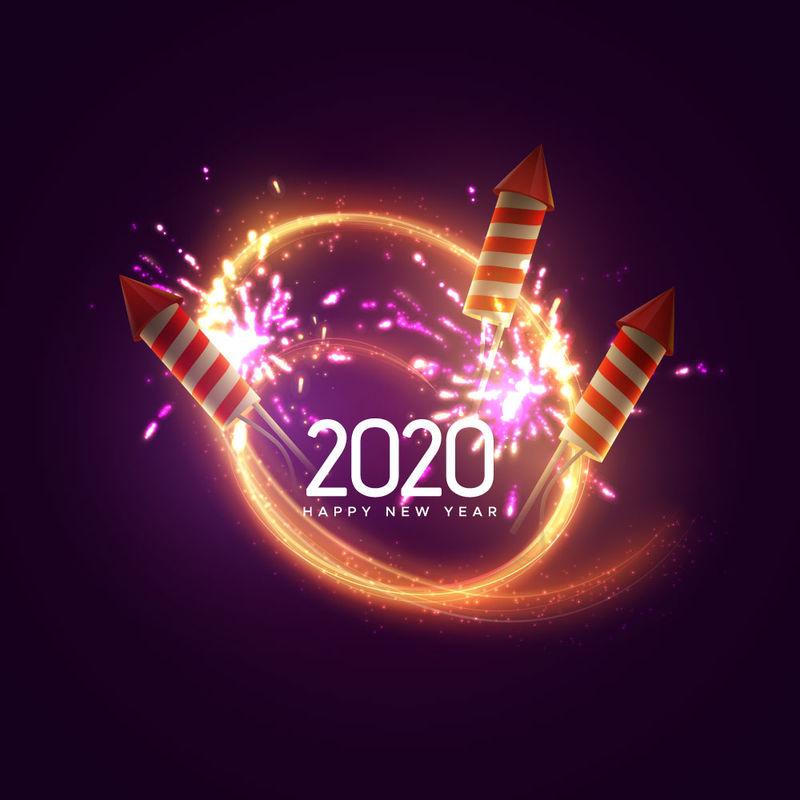 2020年-新年快乐-假日矢量图-节日灯饰横幅上有闪闪发光的焰火火箭、焰火、闪光灯和文字标签-新年海报模板设计