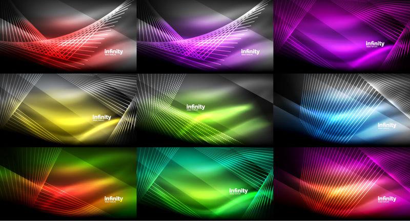 超大的抽象霓虹背景集合-在黑暗中闪耀着闪亮的线条-技术数字抽象空间光背景-矢量图示