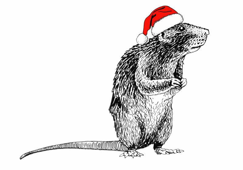 图白色圣诞帽上的老鼠-矢量新年插图
