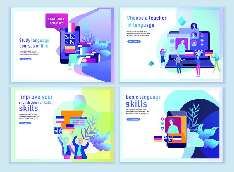 一套用于在线语言课程、远程教育、培训的登录页模板-语言学习界面与教学理念-教育理念-培养年轻人-网络学生