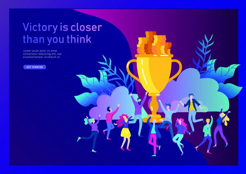 企业团队成功举办金奖得主杯-理念让人喜上眉梢-上班族用大奖杯庆祝-方式目标-生意第一-财务增长-登录页
