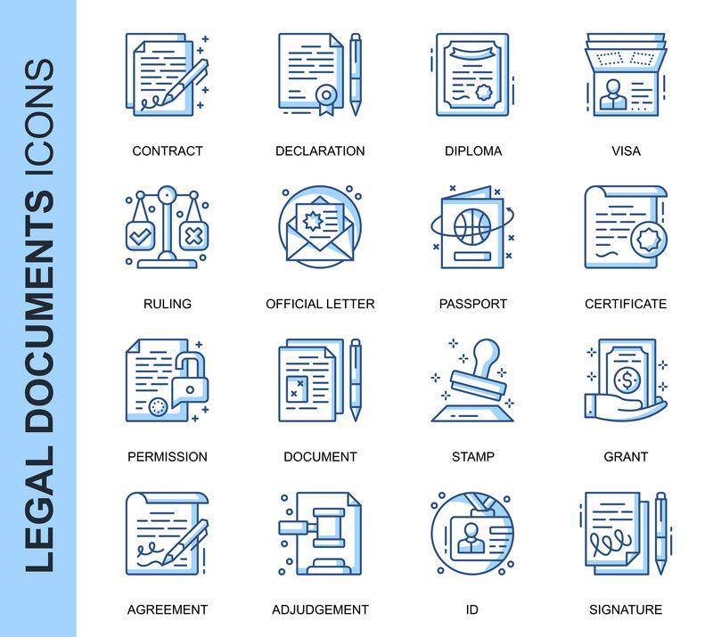 为网站、移动网站和应用程序设置的与矢量图标相关的单行法律文档。轮廓图标设计。包含声明、权限、授予等图标。线性象形图包。