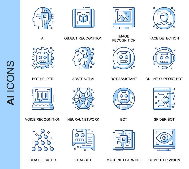 为网站、移动网站和应用程序设置的与人工智能相关的矢量图标。轮廓图标设计。包含识别、支持机器人等图标。线性象形图包。