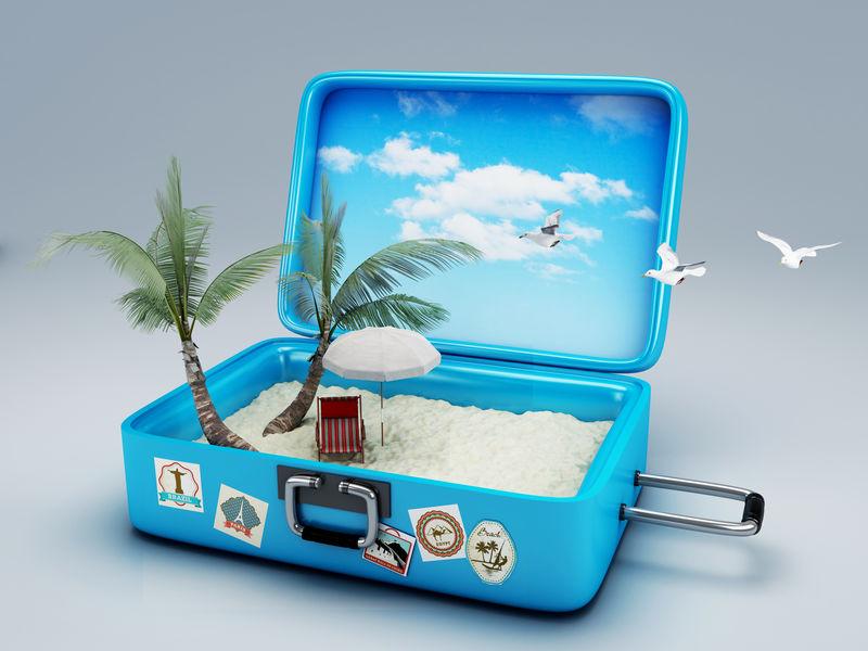 旅行手提箱。海滩度假