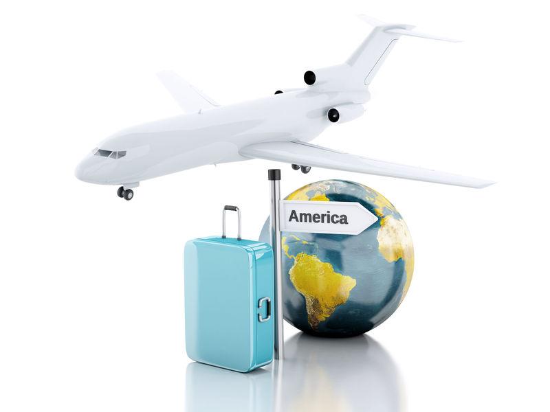 三维旅行箱,飞机和环球。去美国旅行