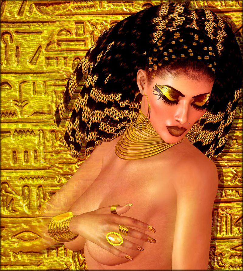埃及辫子、珠子、美丽和黄金都被包裹在这一数字艺术幻想场景中。