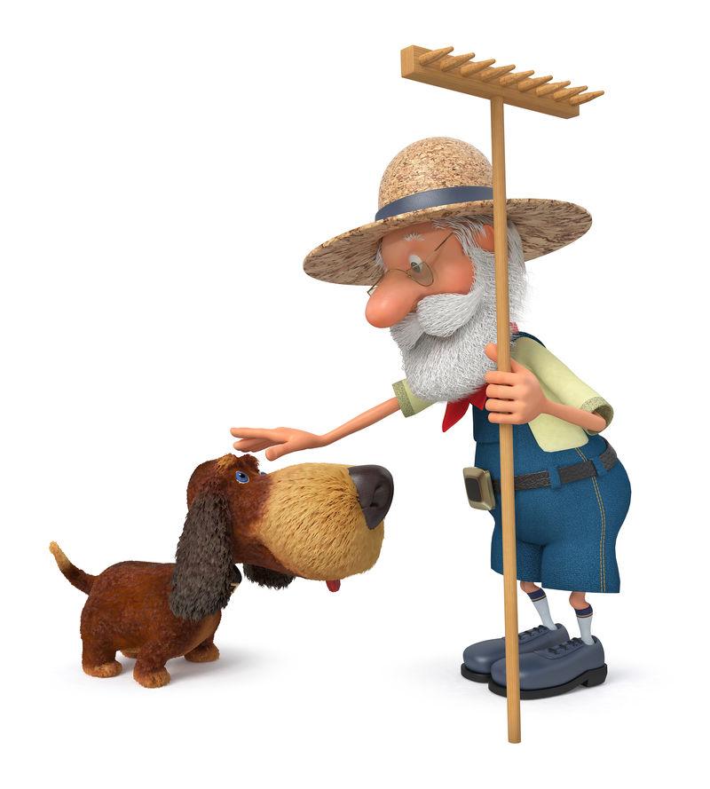 带狗和耙子的农民