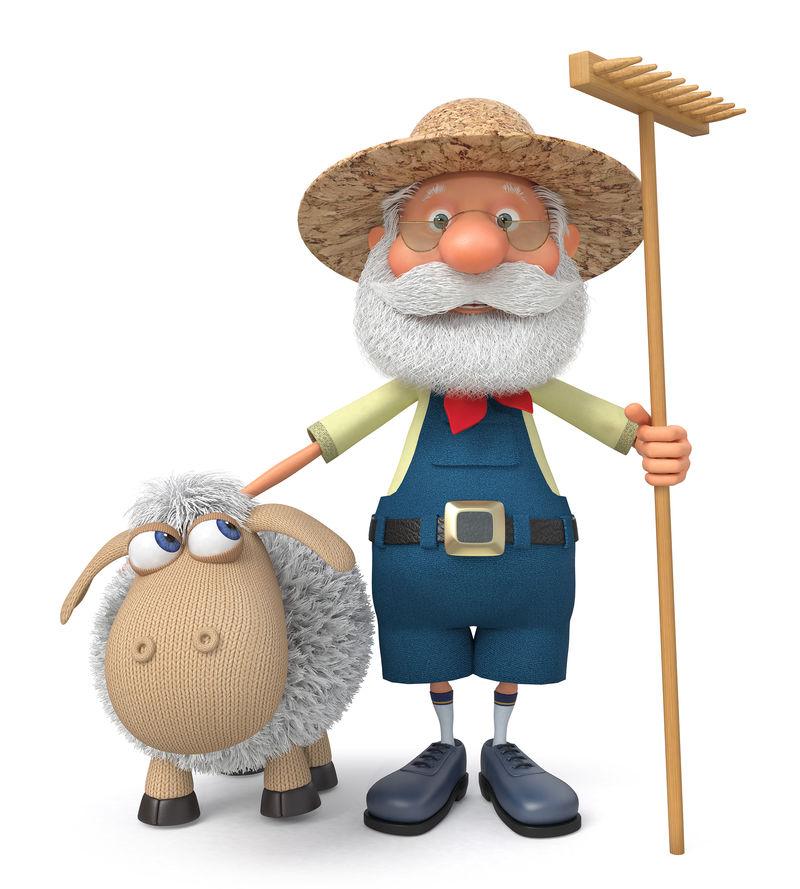 农夫拿着羊肉和耙子的三维图解