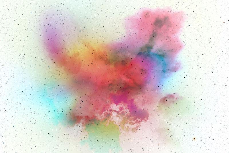 白色背景上的抽象艺术粉末涂料-运动抽象冻结粉尘爆炸五彩背景白-停止白色背景上彩色粉末的移动