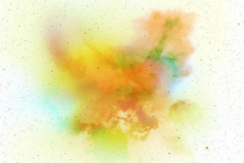 摘要粉体飞溅背景-彩色粉体爆炸/投掷彩色粉体的冻结运动-白色背景上的彩色闪光纹理