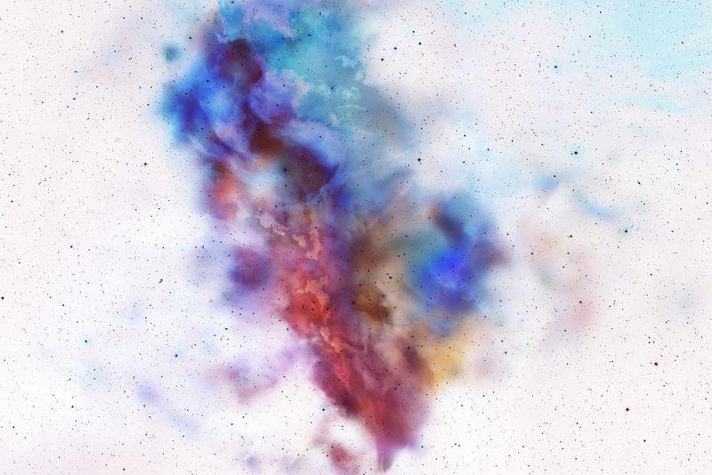 抽象的粉末飞溅在背景上-白色背景下的彩色粉末爆炸-彩云-五颜六色的尘埃爆炸-画胡里