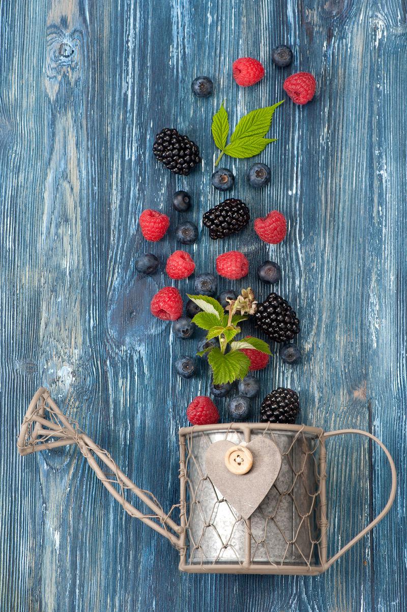 蓝色背景上的夏日浆果。俯视图,垂直