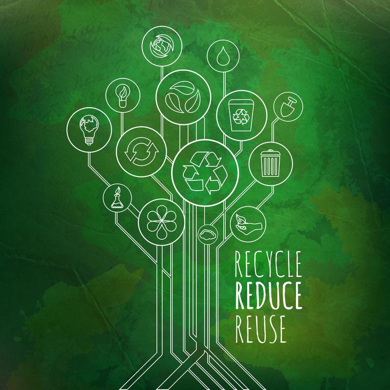 生态信息图。回收、减少、再利用