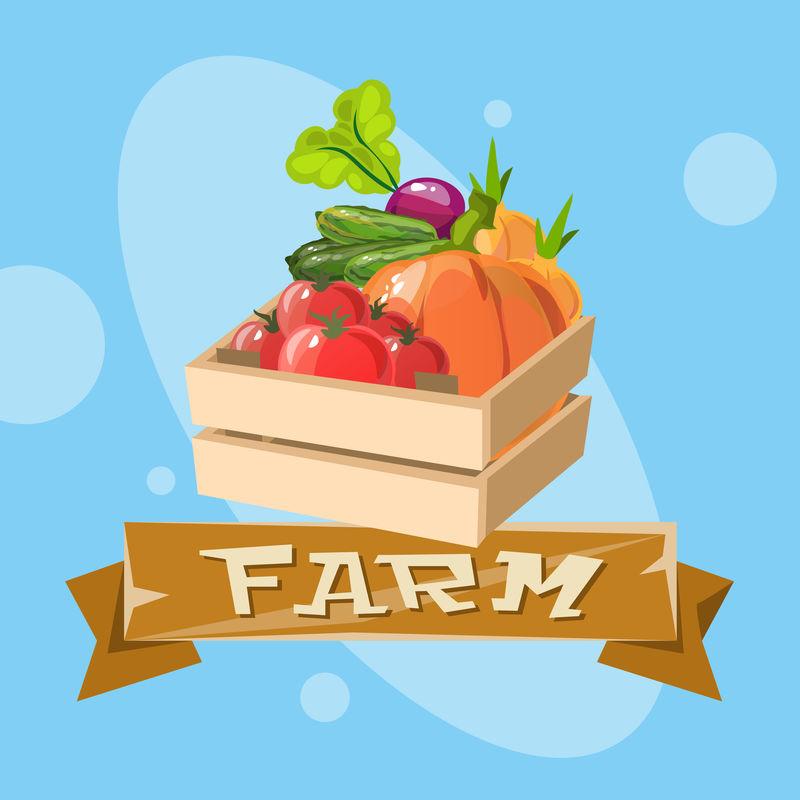带有蔬菜收获生态农业标识概念的盒子