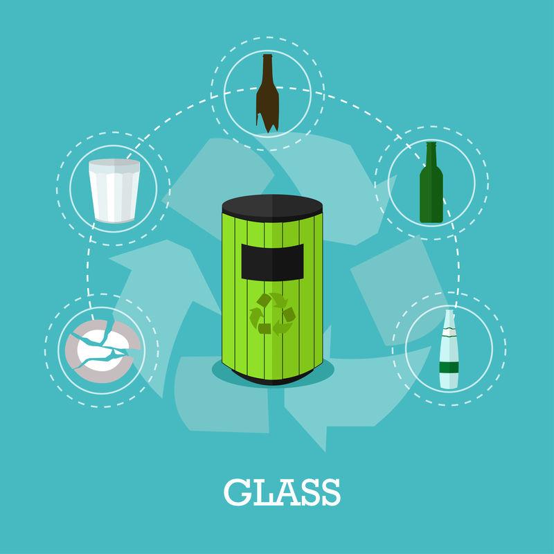 平面风格的垃圾回收概念矢量图。玻璃废料回收海报和图标。