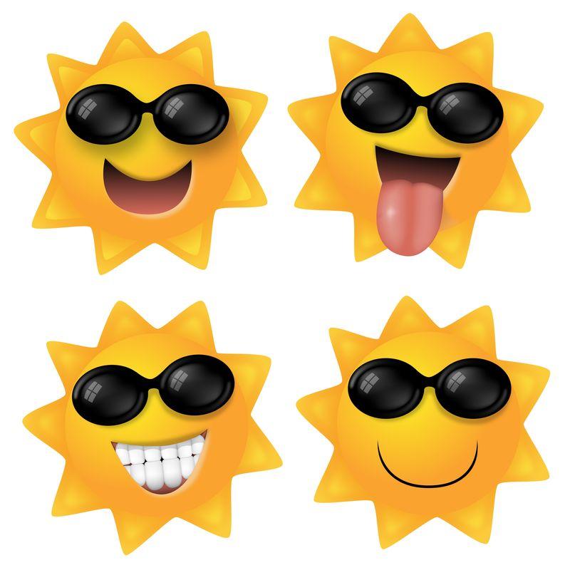 卡通太阳与太阳镜隔离在白色背景-矢量