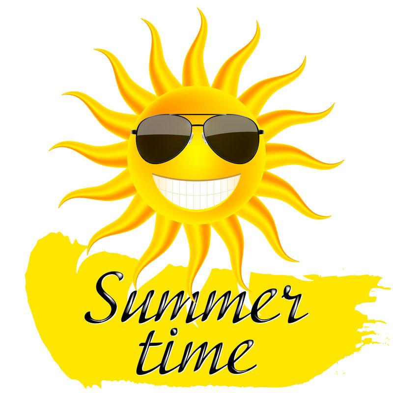 夏天的时候-戴眼镜晒太阳-矢量图示
