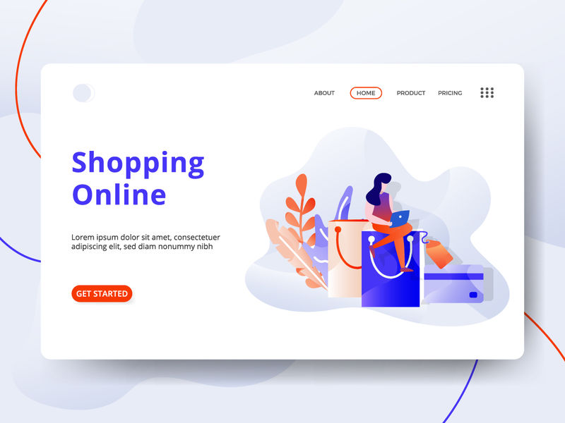 登录页面购物在线矢量插图现代-数字营销概念-可用于网页标题-模板-用户界面-网络-移动应用程序-海报-横幅-传单-海报-开发