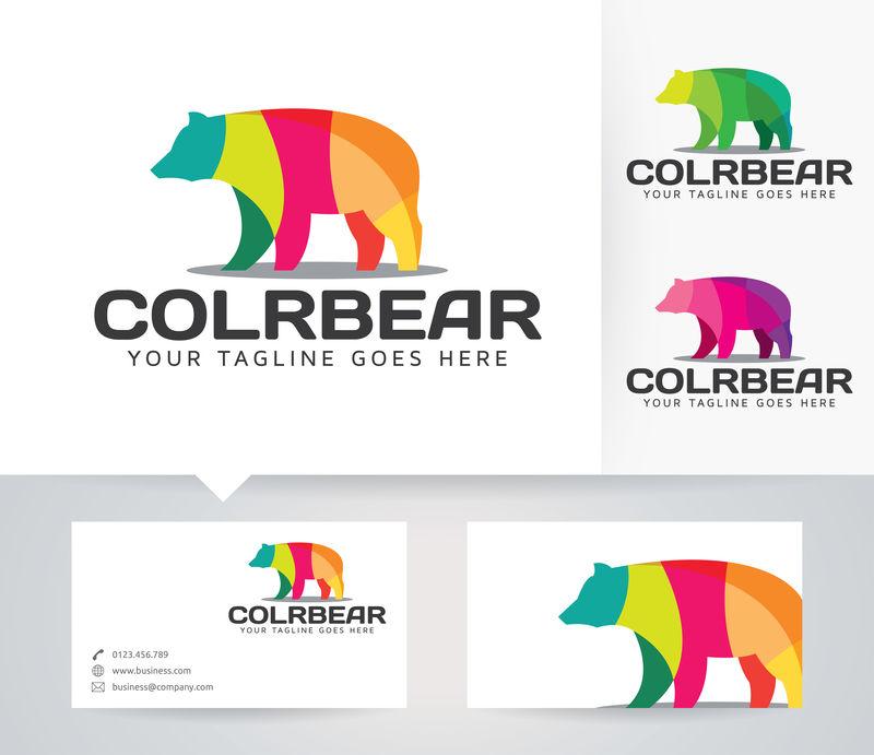 彩色熊-矢量标识模板