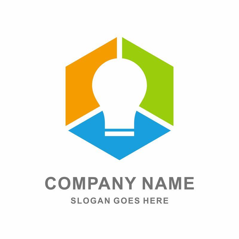 简单创意标识设计符号-灯泡标识模板