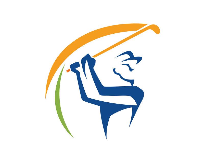 现代高尔夫标志挥杆高尔夫标志