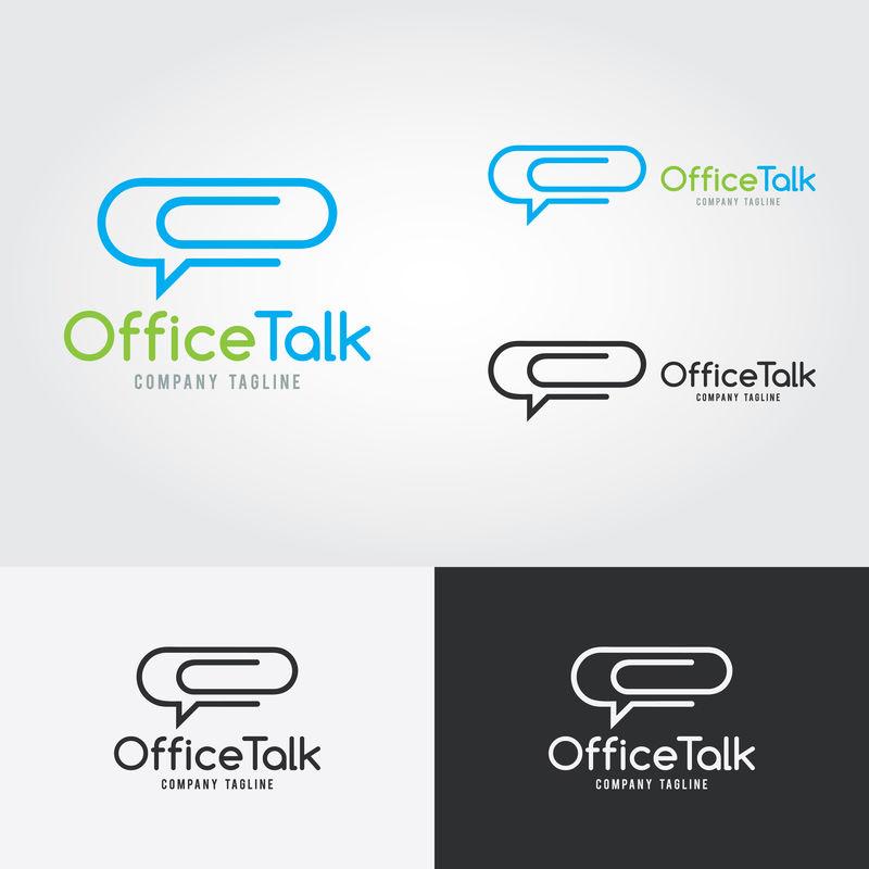 办公业务抽象矢量标志-纸夹和聊天泡泡的概念-工作谈话-办公室谈话图标