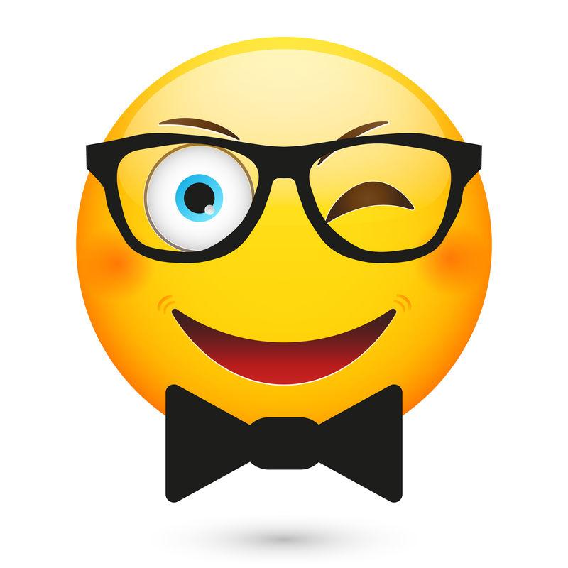 戴着眼镜和黑色领结的表情符号