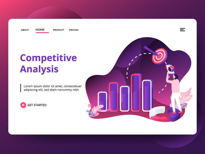 插图竞争分析-男性使用智能手机进行分析的概念-可用于登录页、网页、用户界面、横幅、模板、背景、传单、海报-现代矢量